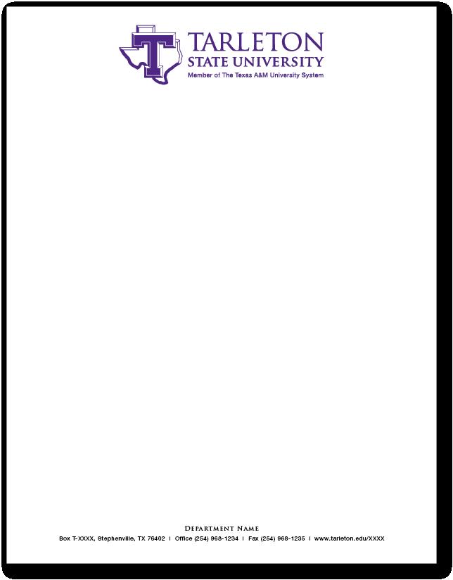 Tarleton state university online stationery store a tarleton standard letterhead altavistaventures Image collections