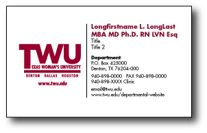 Twu for Designation on business cards