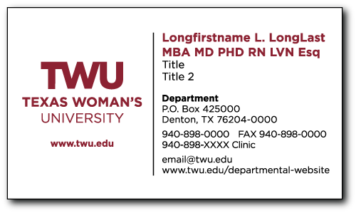 Twu online stationery store for Designation on business cards